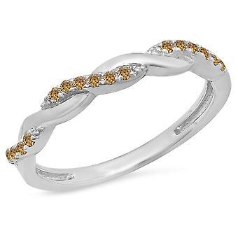 Dazzlingrock Collection 0,15 Carat (ctw) Sterling sølv rund champagne diamant damer virvel Wedding band
