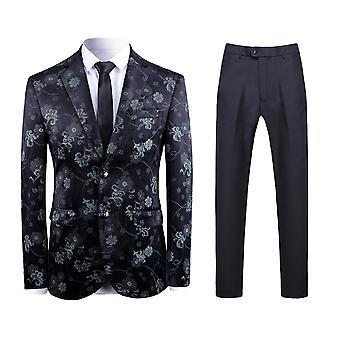 Allthemen Men ' s 2-częściowy garnitury kwiatowe rośliny drukowane biznes casual Blazer & spodnie