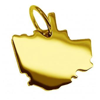 Hänge karta kedja hänge i guldgult-guld i form av QUEBEC CITY