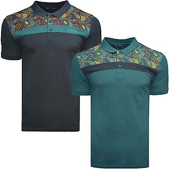 Lambretta Mens Paisley Panel Short Sleeve Button Up Collared Casual Polo Shirt