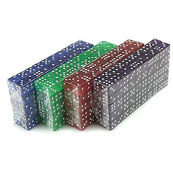 400 optælling af 16mm terning, 6-sidet lilla, blå, grøn, rød