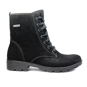 Ricosta Disera 7220200-092 Black Suede Leather Girls Lace Up Ankle Boots