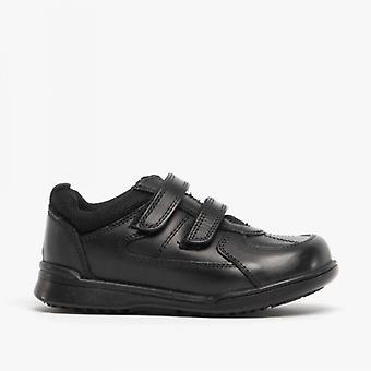 Hush Puppies Liam Boys Leather School Shoes Black