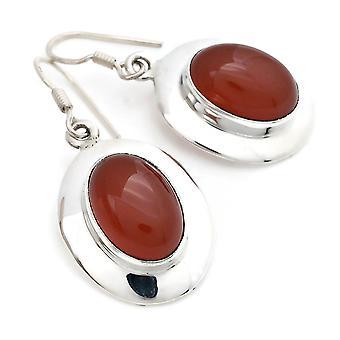 Carneool oorbellen 925 zilveren oorbellen in zilver oranje rood (MOH 129-16)