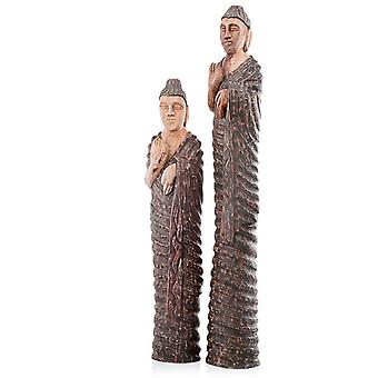 "4"" x 4.5"" x 31"" Natural and Brown Culto Tall Standing Buddha Sculpture"