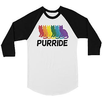 LGBT Purride Rainbow Cats Bkwt Hombres Camiseta de Béisbol Navidad