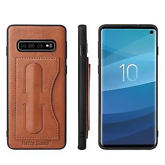 For Samsung Galaxy S10 PLUS Case, Brown Luxury Leather Kickstand Back Cover