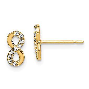 14k Madi K Infinity Symbol CZ Cubic Zirconia Simulerade Diamond Stud Örhängen Smycken Gåvor för kvinnor