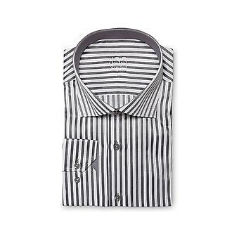 JSS Listrado Cinza e Branco Slim Fit Shirt