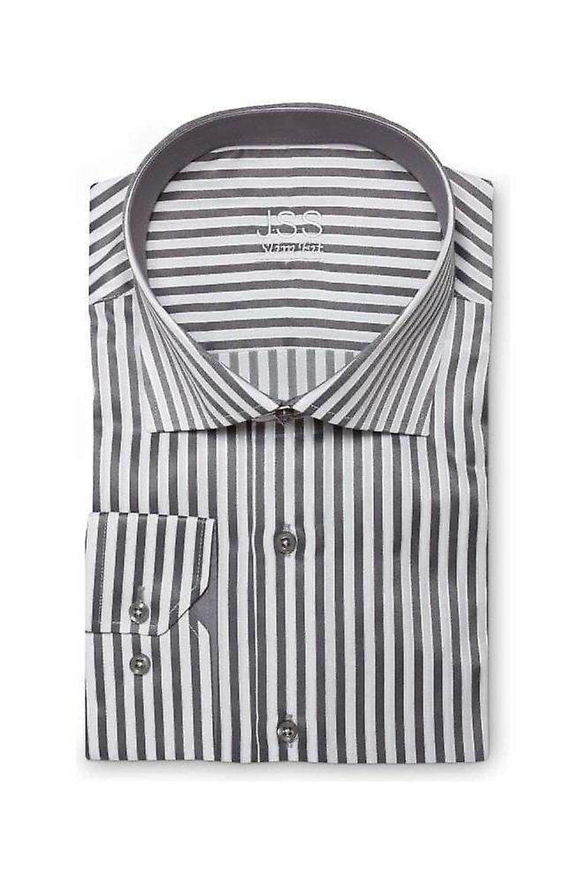 JSS Striped Grey & White Slim Fit Shirt