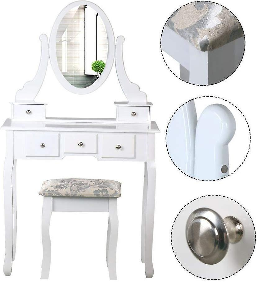 White Dressing Table with Mirror and Stool,5 Drawers Adjustable Vanity Table Set Makeup Dresser