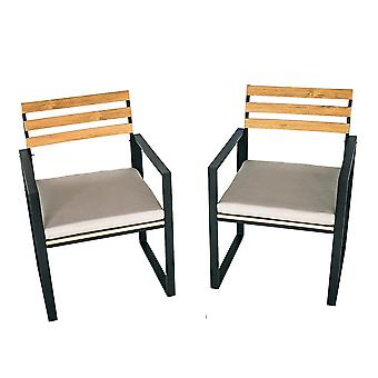 Charles Bentley Industrial Slatted Polywood y Strong Extrusion Aluminium Pair of Chairs Black with 5cm Thick Cushion ideal for Dining Outside