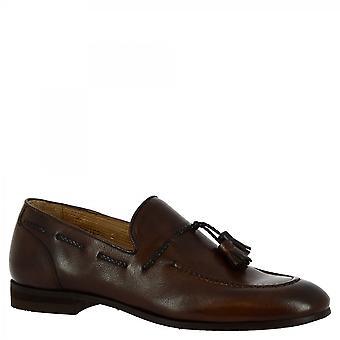 Leonardo Shoes Men's handmade slip on tassels loafers dark brown calf leather