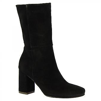 ليوناردو أحذية النساء & أبوس؛s الأحذية الكعب منتصف العجل المصنوعة يدويا في أسود جلد الغزال الجانب الرمز البريدي