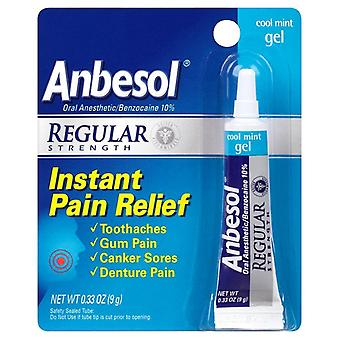 Anbesol instant pain relief gel, regular strength, cool mint, 0.33 oz