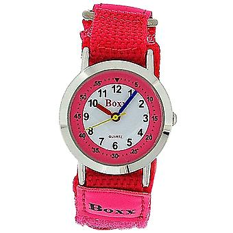 Boxx Girls Analogue Pink & White Dial, Two Tone Pink Easy Fasten Strap Kid Watch