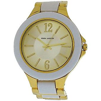 Mark Maddox Mesdames ton or cadran blanc lunette Bracelet bracelet Watch MP0002-05