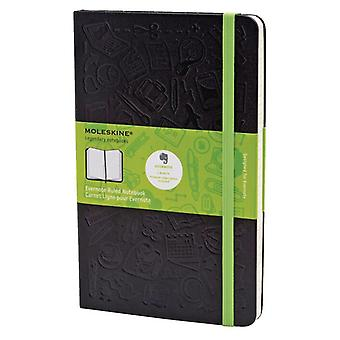 Moleskine evernote notebook large size with ruled pages - color color black