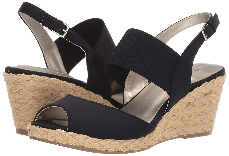 Bandolino Womens Himeka Suede Peep Toe Casual Espadrille Sandals