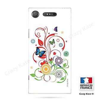 Rumpf für Sony Xperia Xz1 Flexible Schmetterling Muster und Kreise auf weißem Hintergrund