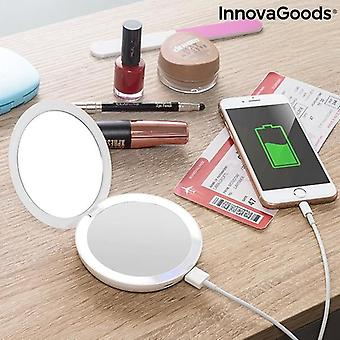 3-in-1 Pocket Mirror with LED and Power Bank