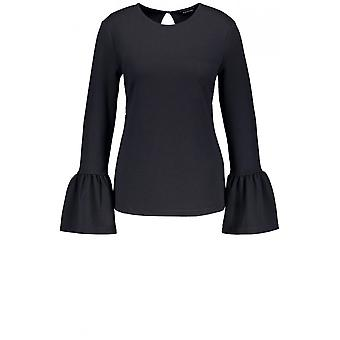Taifun Navy Ribbed Bell Sleeve Top