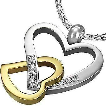 Light hearted two tone cz accented hearts gold plated stainless steel necklace pendant