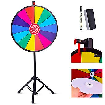 """24"""" Color Prize Wheel Dry Erase Fortune Spinning Tabletop Floor Stand Win Game"""