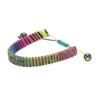 Rainbow Bead Crystal Glass and Cord Bracelet