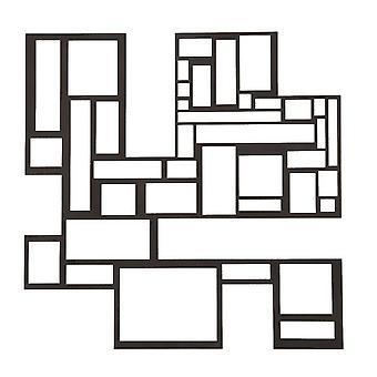 Decorazione Da Parete Quadrato Color Nero in Acciaio 50x0,15x50 cm