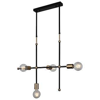 Lámpara de suspensión Rena Color Gold, Negro en Metal, L16xP68xA112 cm