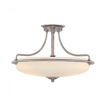 Griffin Ceiling Light, Antique Nickel And Glass, 4 Bulbs