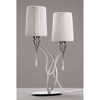 Table Lamp Lucca 2 Bulbs E27, Polished Chrome With White Lampshades & Transparent Crystal
