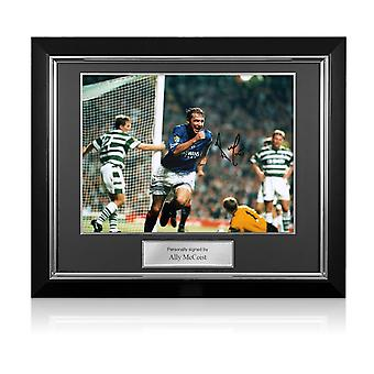 Ally McCoist Signed Rangers Photo: Goal Against Celtic. Deluxe Framed