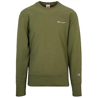 Champion Reverse Weave Dark Green Logo Sweatshirt