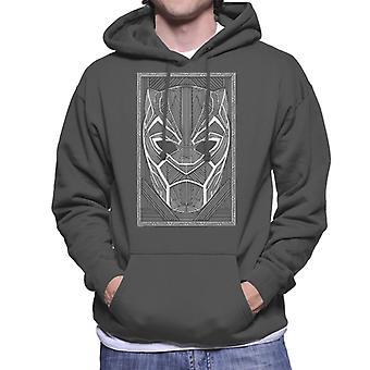 マーベル ブラック ・ パンサー マスク ワカンダ ライン アート スタイル メンズ フード付きスウェット シャツ
