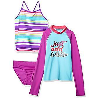 Marca - Spotted Zebra Little Girls' 3-Piece Swim Set with Rashguard an...