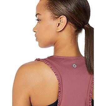 الأساسية 10 المرأة & apos&ق رمز سلسلة & ruffle & apos; اقتصاص خزان اليوغا بلا أكمام, روز, كبيرة