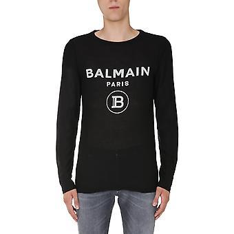 Balmain Uh11258i365eab Men's Black Cotton Sweater