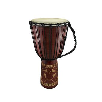 24 in. Mahogany Finish Hand-Carved Wooden Drum Circle Djembe