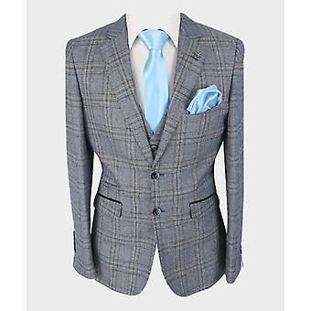 Men's Brendan Blue Tweed Check Herringbone Suit