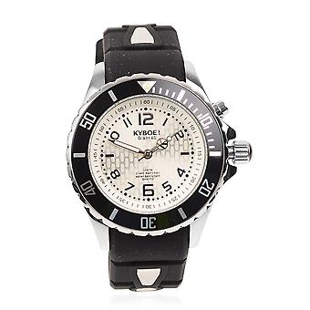 KYBOE Japanese Movement 100M Silver Shine LED Mens Watch in Steel Rotating Bezel