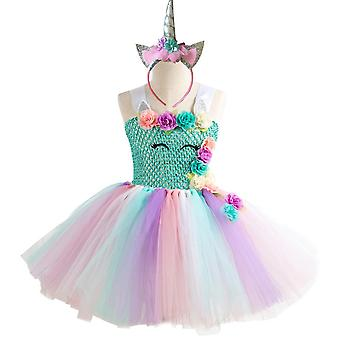 Kleid mit Tüllrock und Diadem - blaues Oberteil, 10-12 Jahre