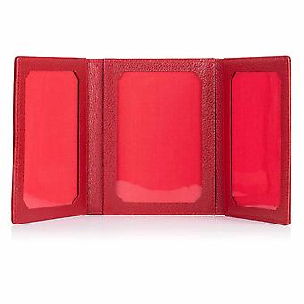Red Malvern Leather Triple Photo Frame
