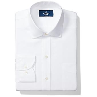 """BUTTONED DOWN Men's Slim Fit Spread Collar Solid Non-Iron Dress Shirt (Pocket), White, 17"""" Neck 38"""" Sleeve"""