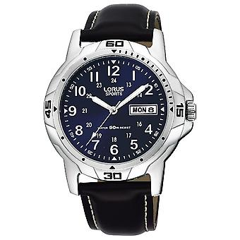 Lorus Męskie ze stali nierdzewnej koperta skórzany pasek zegarek sportowy (nr modelu RXN51BX9)