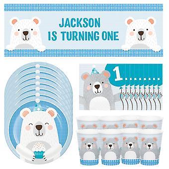 חבילת מסיבת דוב יום הולדת 1   8 צלחות   8 כוסות   16 מפיות   1 כרזה