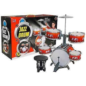 Spielzeug-Schlagzeug - Jazz-Trommel 5-teilig mit Sitz und Drumsticks