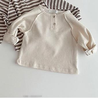 Autumn Baby Boys Waffle Long Sleeve Striped T Shirts Infant Kids Cotton Raglan Tops