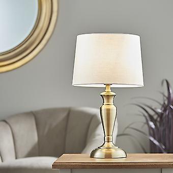Lámpara de mesa antigua latón placa y vintage lino blanco 1 luz IP20 - E27